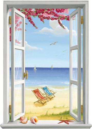 Trompe l 39 oeil finestra verticale hawaii for Finestra scorrevole verticale